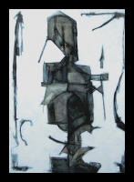 &quot;Solemn&quot; oil &amp; graphite painting on panel 2009 by Louis Delegato